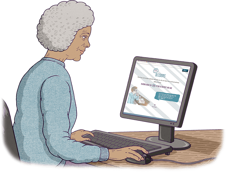 An old woman is sitting in front of a computer screen, looking at this website.